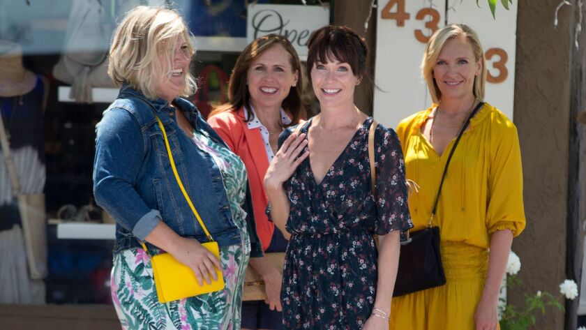 (L-R) Bridget Everett as Melanie, Molly Shannon as Jamie, Katie Aselton as Emily, and Toni Collette
