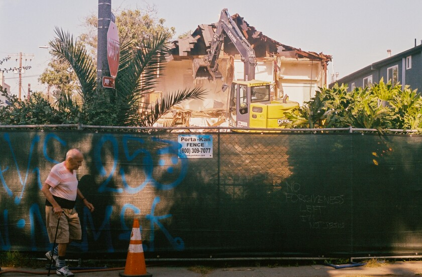 A Craftsman-style house in Los Angeles being demolished.