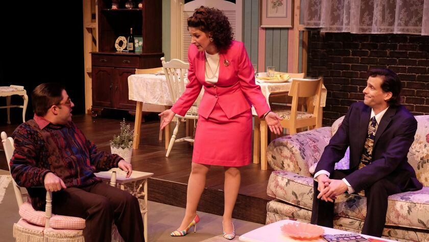 """Omri Schein, Erika Beth Phillips and Ross Hellwig (from left) in Lamb's Players Theatre's """"Beau Jest."""""""