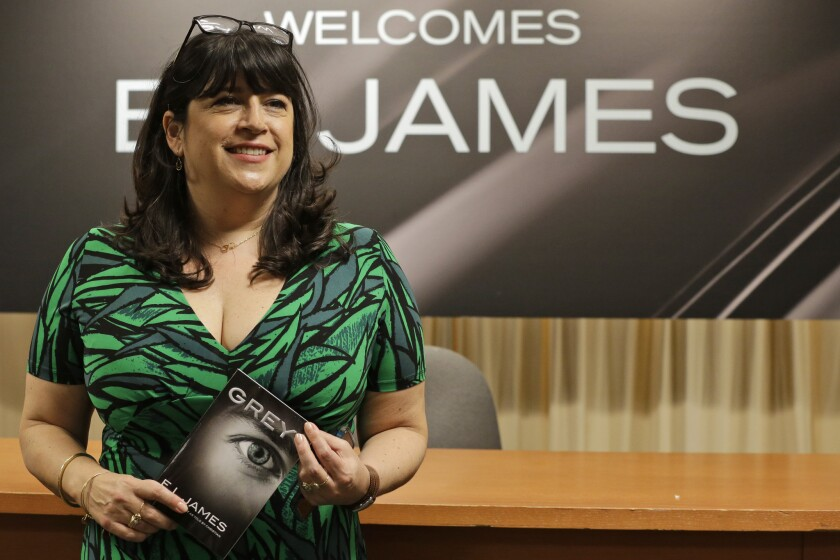 """Author E.L. James with her new book, """"Grey,"""" which sold more than 1.1 million copies in just four days."""