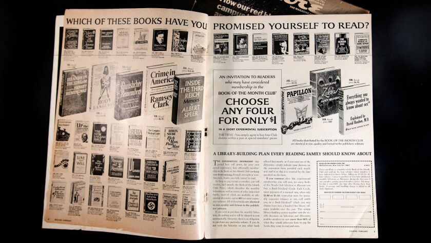 The Book of the Month Club ad in a 1971 edition of Esquire Magazine