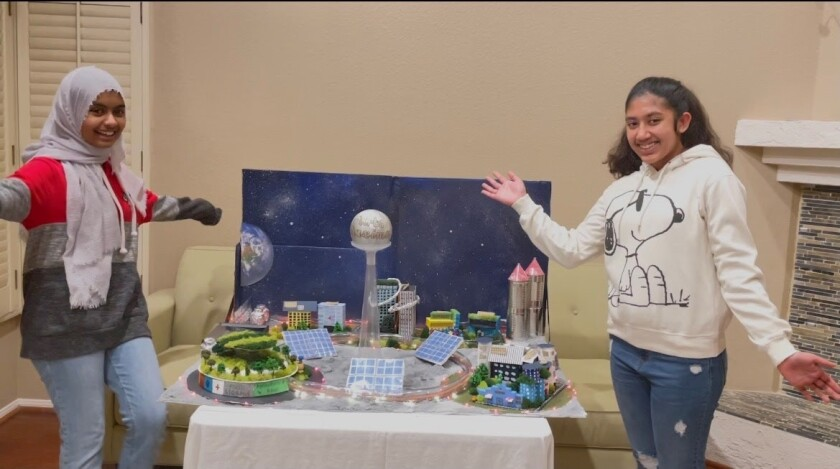 Bernardo Heights Middle School eighth-graders Sumehra Sneha and Kashifa Mariam Vellore designed a city on the moon.