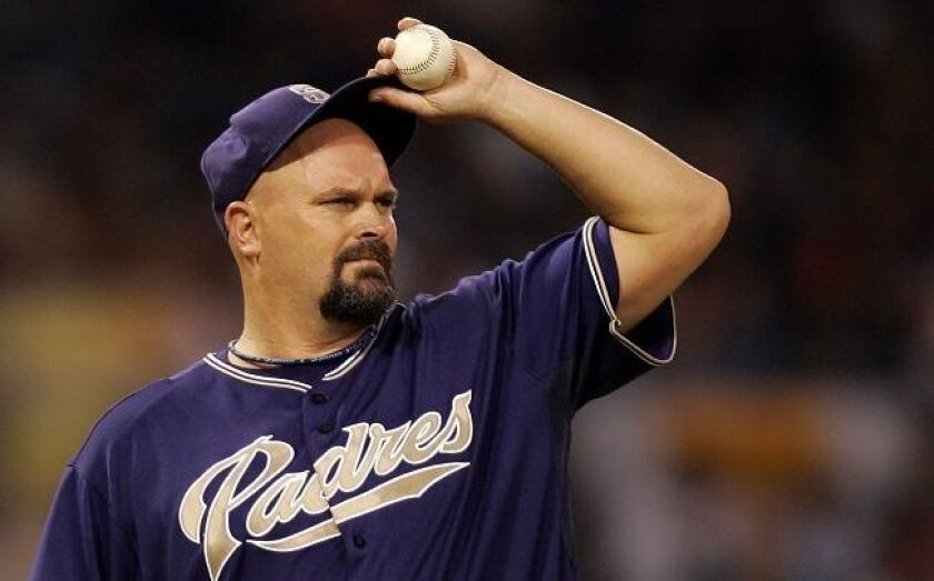 David Wells pitching for the Padres at Petco Park on Saturday, July 21, 2007.