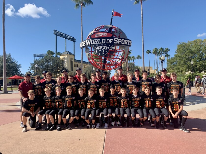 The Torrey Pines Pop Warner Falcons are playing for the national title at Disney World's ESPN Wide World of Sports Complex in Orlando, Florida.