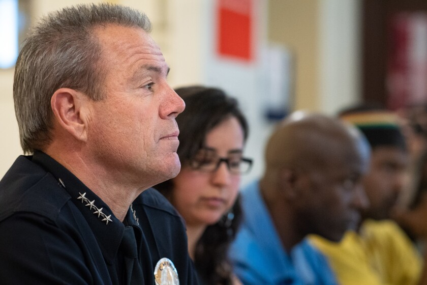 LAPD Chief Michel Moore meets with community organizations and faith-based groups in 2018.