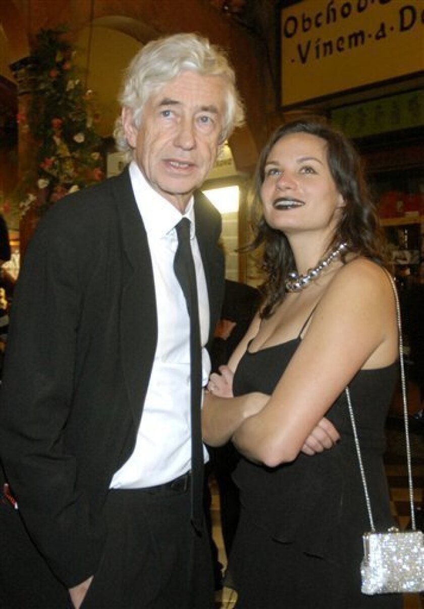 In this March 1, 2008 file photo, world-renowned architect Jan Kaplicky, left, is pictured with his wife Eliska Fuchosva in Prague.  The Czech-born, British-based Kaplicky, who designed the award-winning media center at Lord's cricket ground in London, has died at the age of 71, an official said Th