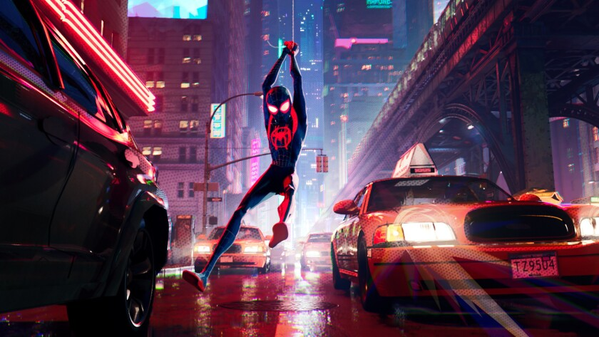 "Miles Morales (voiced by Shameik Moore) in the animated movie ""Spider-Man: Into the Spider-Verse."""