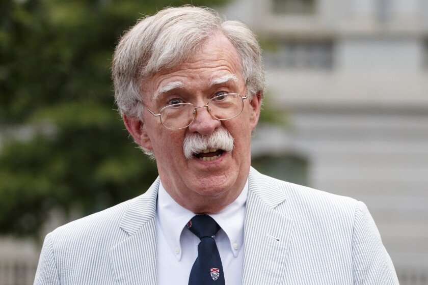 FILE - In this July 31, 2019 file photo, National security adviser John Bolton speaks to media at the White House in Washington. (AP Photo/Carolyn Kaster)