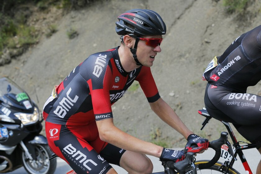 FILE - In this July 22, 2015, file photo, Tejay van Garderen of the U.S. struggles after he fell ill during the 17th stage of the Tour de France cycling race between Digne-les-Bains and Pra Loup, France. American cyclist Tejay van Garderen has withdrawn his name from consideration for the Rio Olympics amid concerns that he may contract the Zika virus and pass it along to his pregnant wife. (AP Photo/Christophe Ena, File)