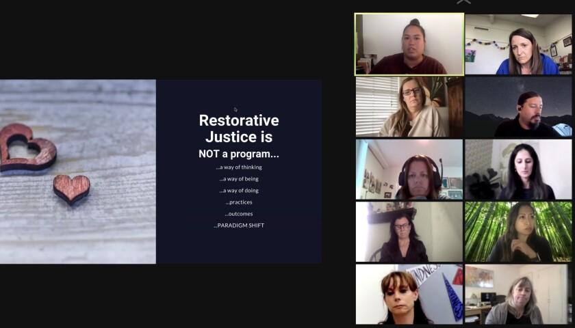 Lan Nguyen (top row, left) speaks to the La Jolla Cluster Association about restorative justice practices.