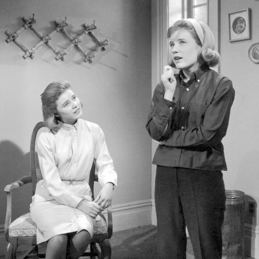 """Patty Duke who played both Patty Lane, right, and Cathy Lane on """"The Patty Duke Show"""" from 1963 to 1966."""