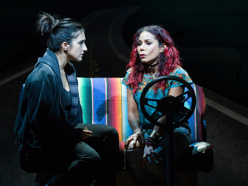 "Krystina Alabado, left, and Daphne Rubin-Vega in La Jolla Playhouse's world-premiere musical ""Miss You Like Hell."""