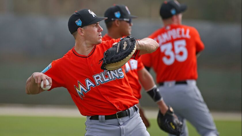 Miami Marlins catcher J.T. Realmuto throws during baseball spring training, Tuesday, Feb. 20, 2018 i