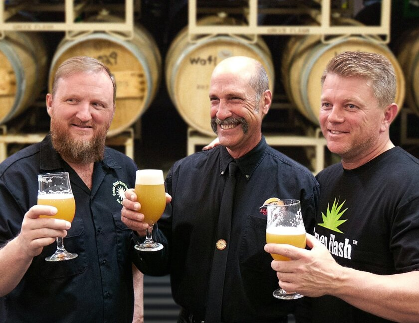 From left: Green Flash brewmaster Chuck Silva, Alpine co-founder and brewmaster Pat McIlhenney, and Green Flash co-founder Mike Hinkley.