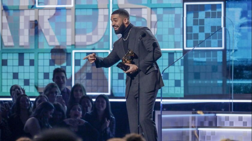 LOS ANGELES, CA - February 10, 2019 Canadian rapper Drake accepts the award for Best Rap Song for 'G