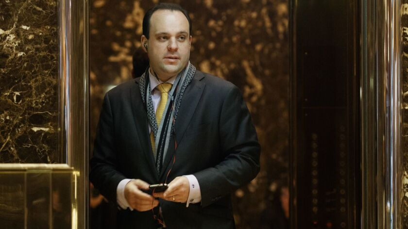 Boris Epshteyn, shown in 2016, when he was a spokesman for then-President-elect Trump, does commentaries for Sinclair that stations are required to run.