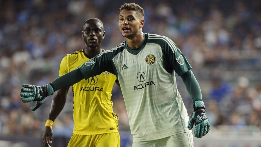 Columbus Crew's goalkeeper Zack Steffen (23) reacts during the second half of an MLS soccer match ag