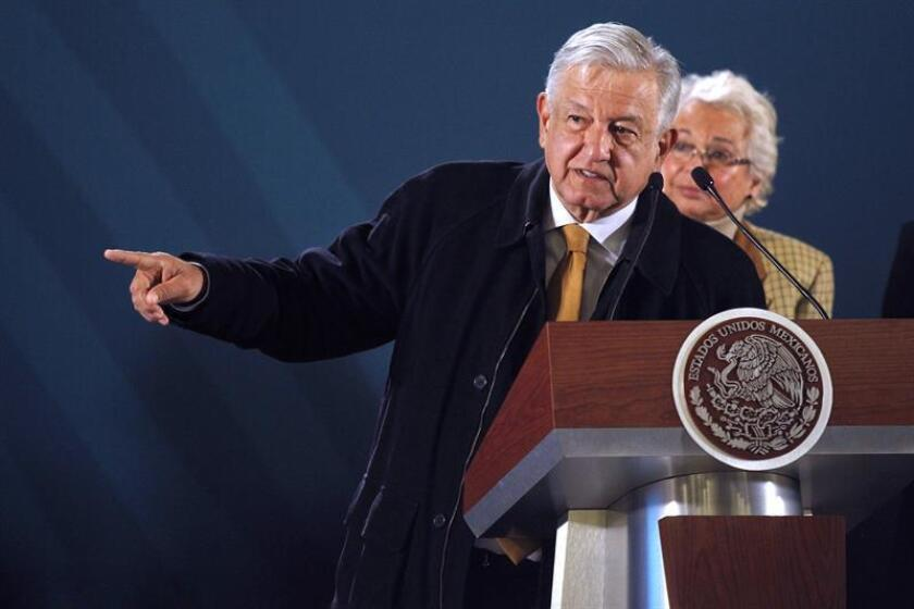 Mexican President Andres Manuel Lopez Obrador speaks during his daily press conference, in Mexico City, Mexico, Dec. 27, 2018. Lopez Obrador presented Thursday a plan to end the giant fuel theft to the state-owned company Petroleos Mexicanos (Pemex), in which 15 public agencies participate and which, in its first days of application, has resulted in three arrests. EPA-EFE/Sashenka Gutierrez