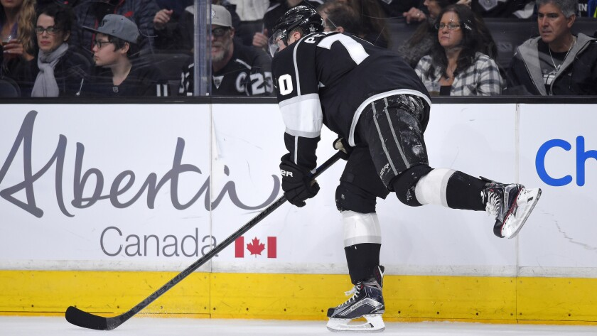 Kings forward Tanner Pearson limps off the ice after suffering a broken leg during a January loss.