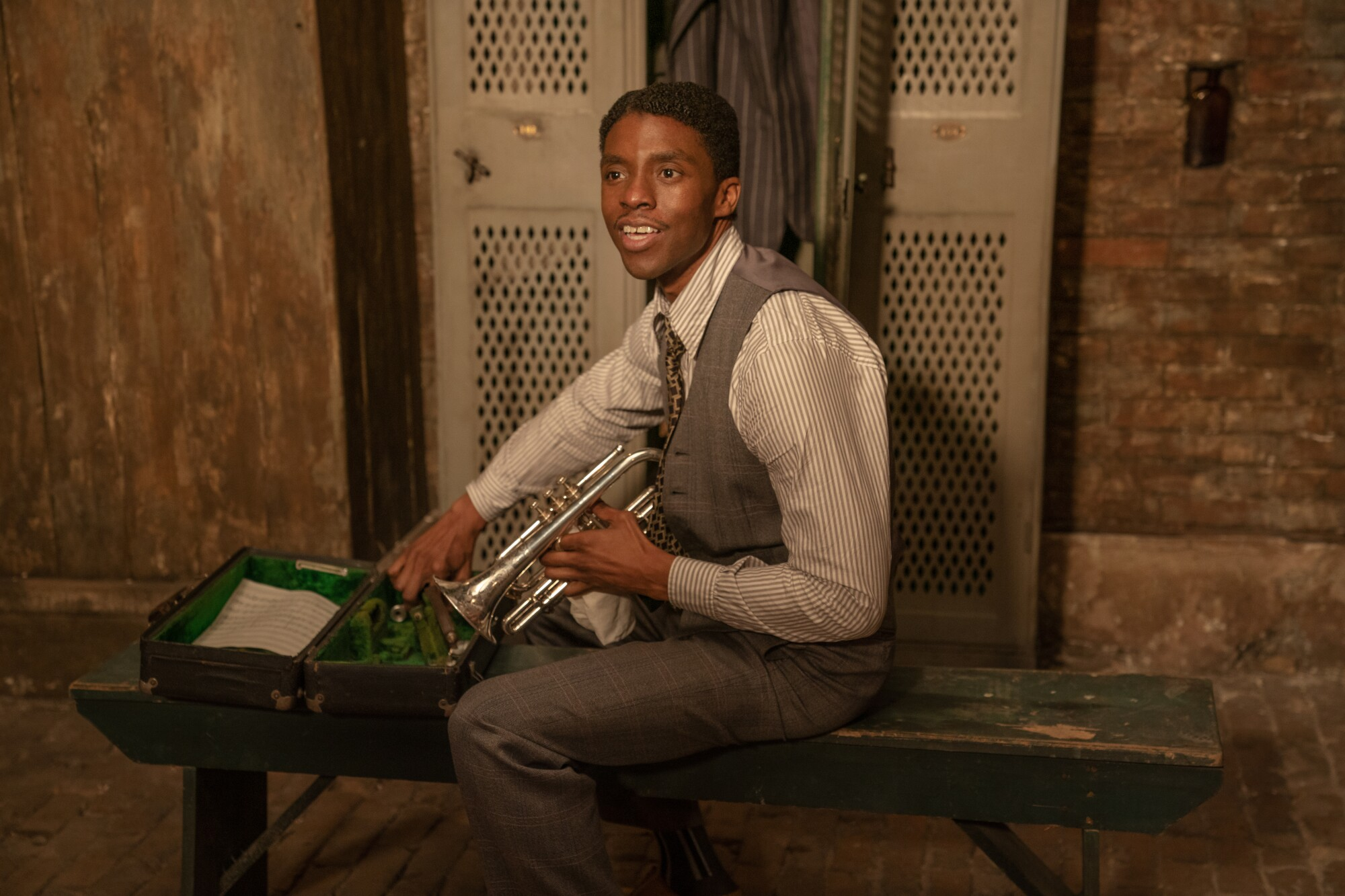 "Chadwick Boseman as trumpet player Levee in ""Ma Rainey's Black Bottom"""