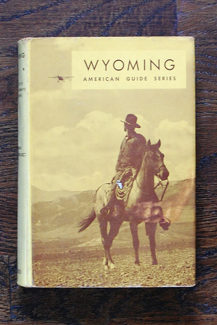 A man in a cowboy hat sits atop a horse with a plane above in a photo on a book cover.