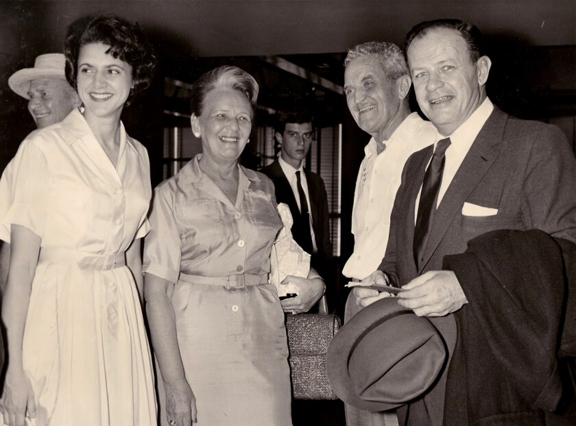 Joe Mankiewicz (right) and Rosemary, his third wife (left) in Rome during the filming of 'Cleopatra.'