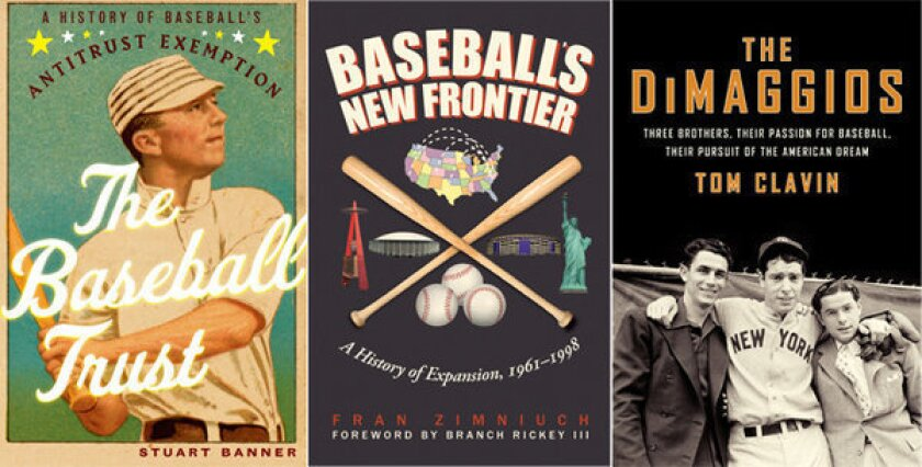 The covers of 'The Baseball Trust', 'Baseball's New Frontier' and 'The DiMaggios'.
