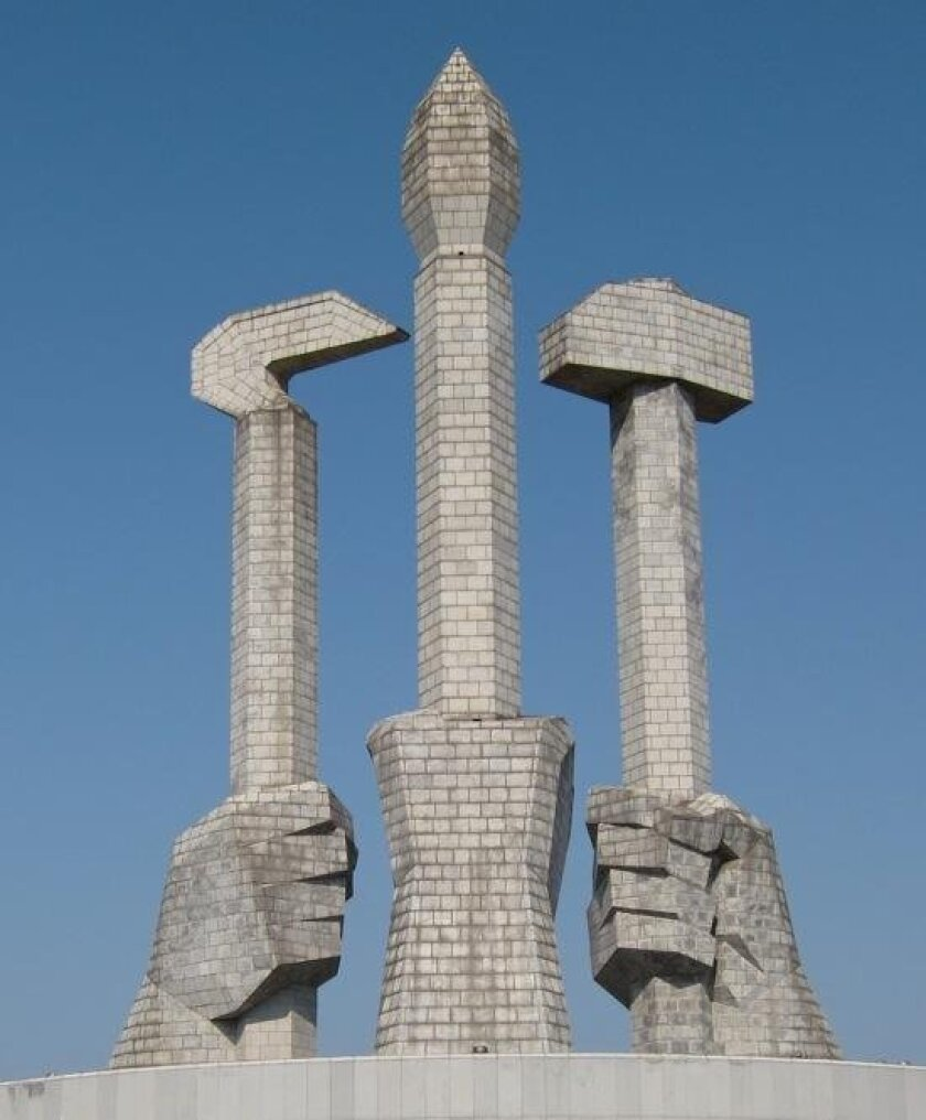 The Workers Party Monument in Pyongyang, DPRK (North Korea)