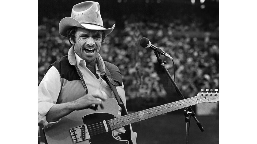 Oct. 26, 1980: Merle Haggard performing at the Country Fall Festival concert at Anaheim Stadium.