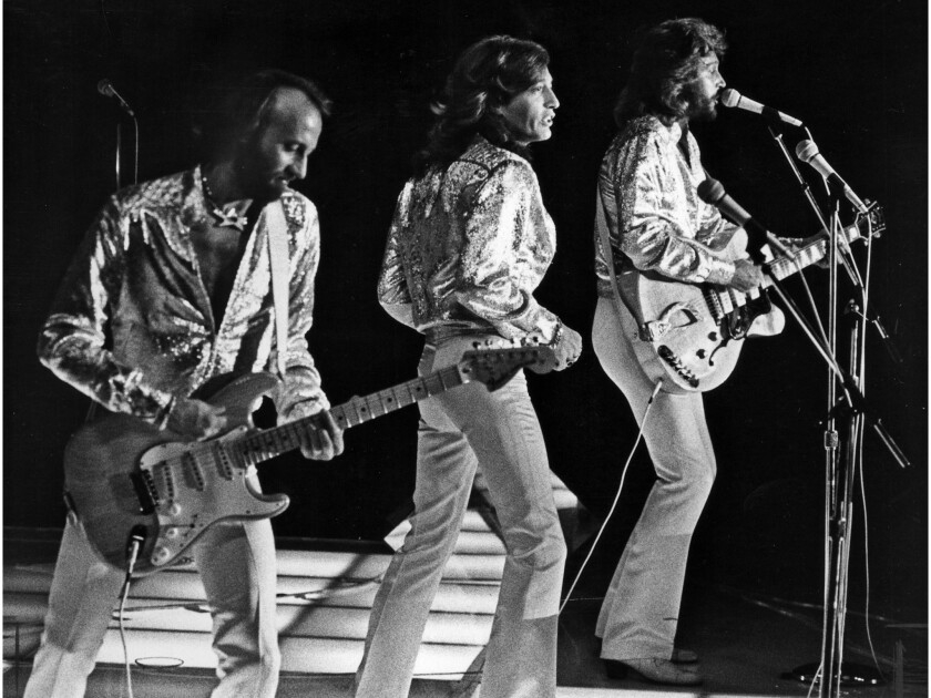 July 7, 1979: The Bee Gees, LñR: Maurice, Robin and Barry Gibb performing at Dodger Stadium July 7