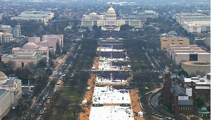 The thin crowd on the National Mall at the inauguration of President Trump in 2017.