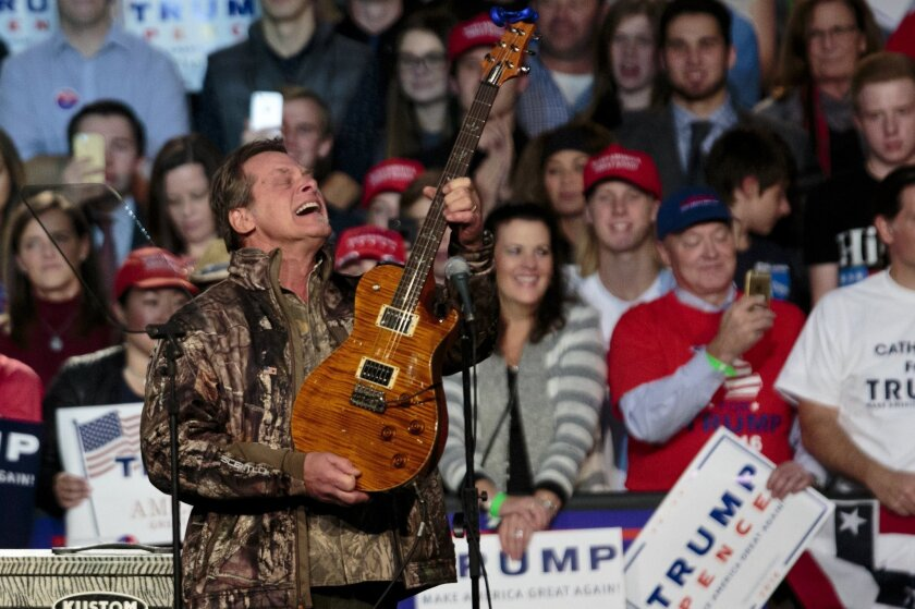 Musician Ted Nugent performs before Republican presidential candidate Donald Trump comes on stage for his campaign rally in Grand Rapids, Mich. on Nov. 7, 2016.