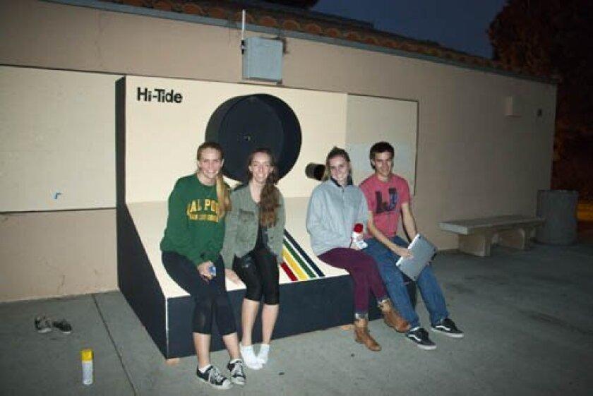 Mae Goodjohn, Amanda Menas, Laura Derickson and Jordan Bowman with the newly-installed camera at La Jolla High School. Courtesy Photo