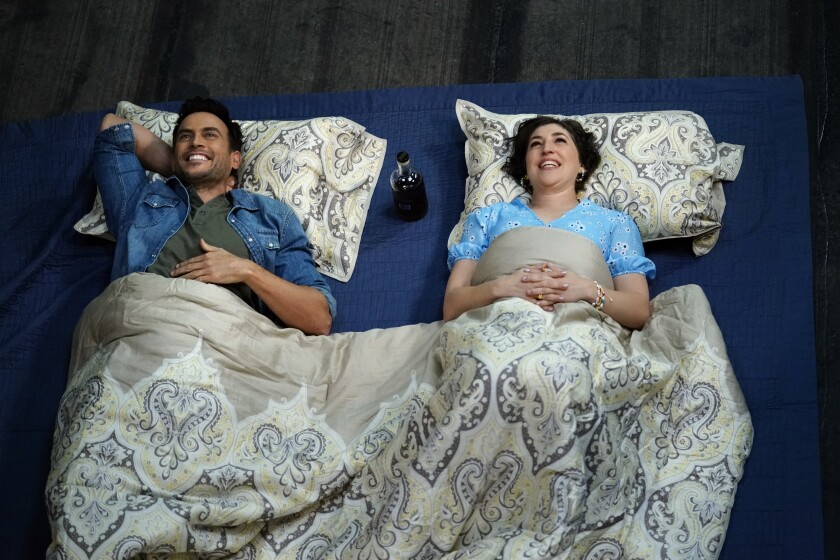 "Cheyenne Jackson, left, and Mayim Bialik in ""Call Me Kat."""