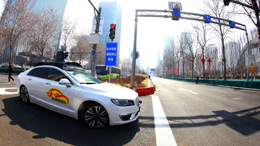 A self-driving car on a Beijing road during a 2018 test.