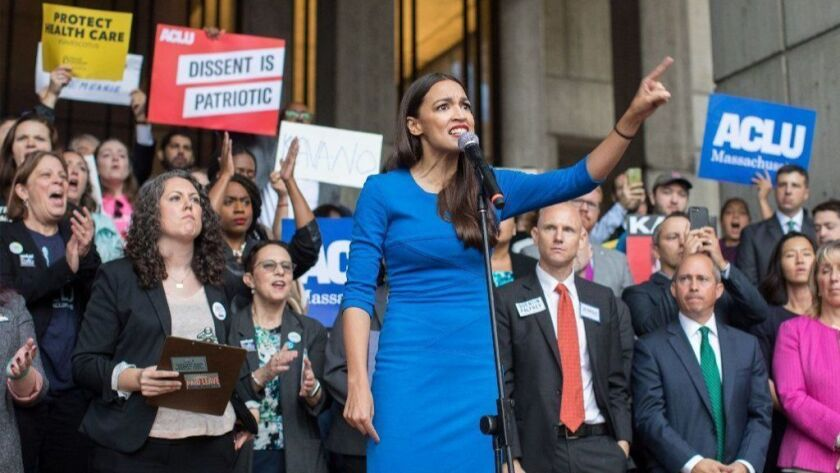 New York Democratic congressional candidate Alexandria Ocasio-Cortez speaks at a rally in Boston on Oct. 1.