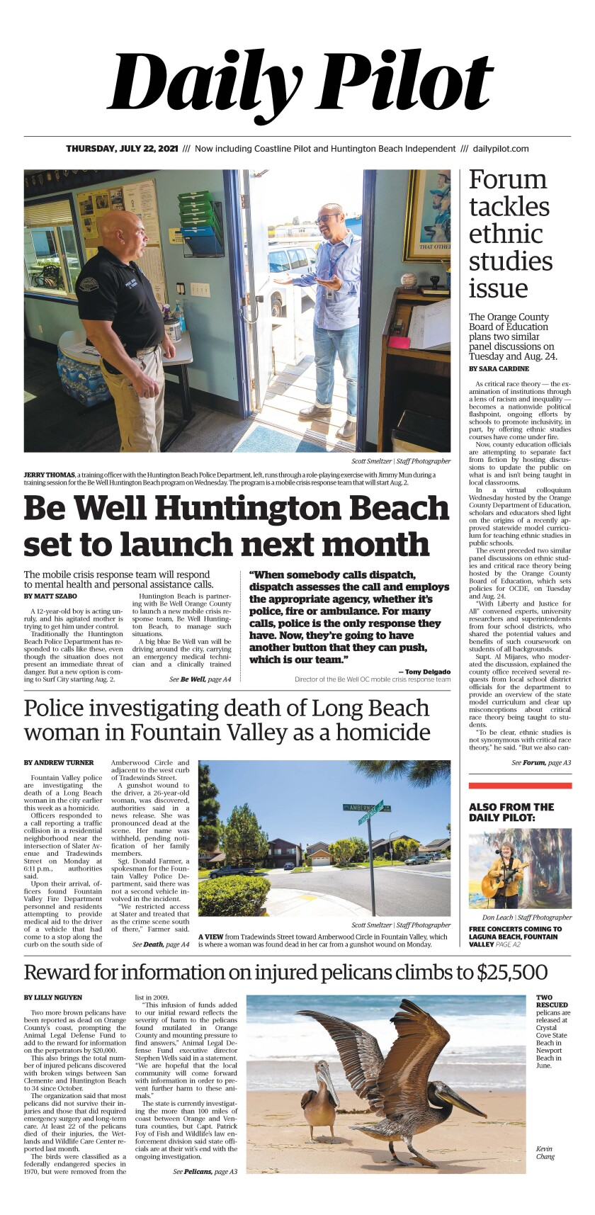 Front page of Daily Pilot e-newspaper for Thursday, July 22, 2021.