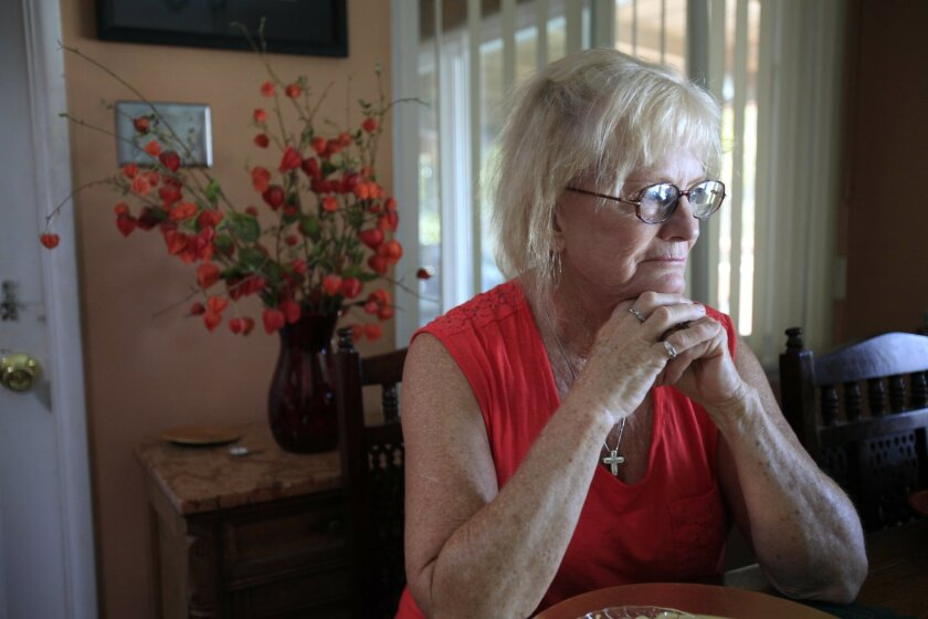 """San Diego, CA_8/1/2013_Margaret """"Peggy"""" Kreusser is a 70-year-old widow who owes a $16K water bil to the city of Escondidol. The city says she must pay because it was a leak on her property. She says the meter malfunctioned. UT/John Gastaldo/Mandatory Credit: JOHN GASTALDO/U-T SAN DIEGO/ZUMA PRESS"""