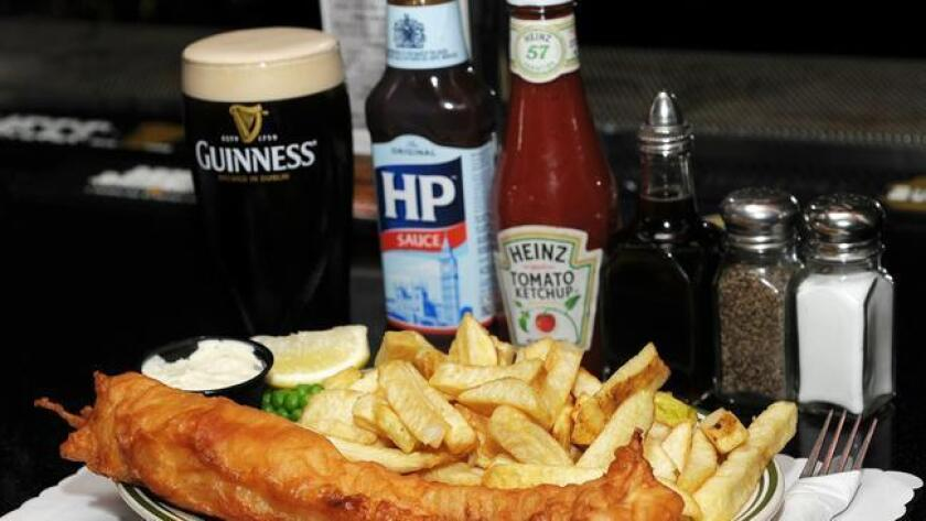 Fish & Chips is Shakespeare Pubs' signature dish. Enjoy a generous fillet of Cod surrounded in beer batter served with 'proper' chips & peas. (Rick Nocon)