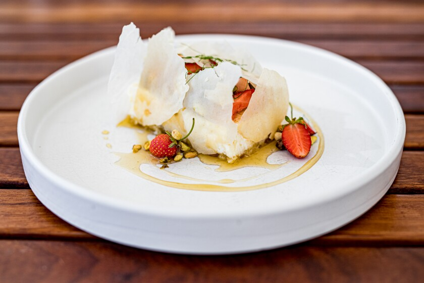 Serea's Greek yogurt cheesecake, gently wrapped in shards of crispy phyllo dough, is a winning dessert that's not too sweet.