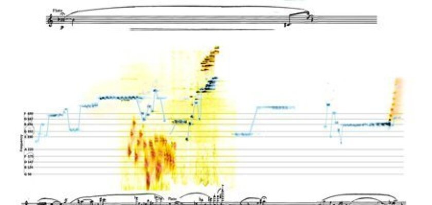 """""""Bending Music"""" features 60 pages of graphs, several dozen pieces from all different kinds of music. The e-book allows the reader/listener to follow the soundwaves as the music plays. (Above courtesy www.spectralmusic.com)"""