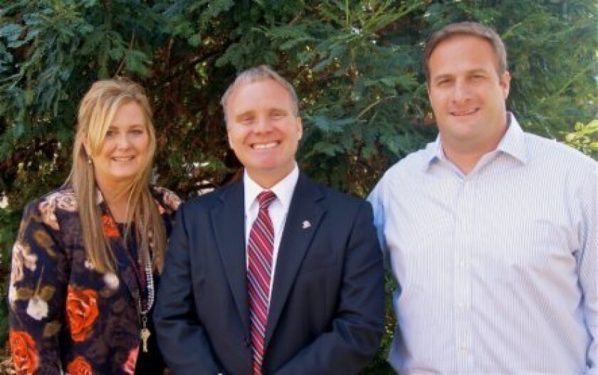 La Jolla High School principal Chuck Podhorsky (center) with vice-principals Anne McCarty and Will Hawthorne  Courtesy