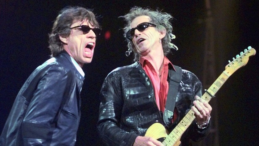 Mick Jagger, left, and Keith Richards of the Rolling Stones in Boston in March 1999.