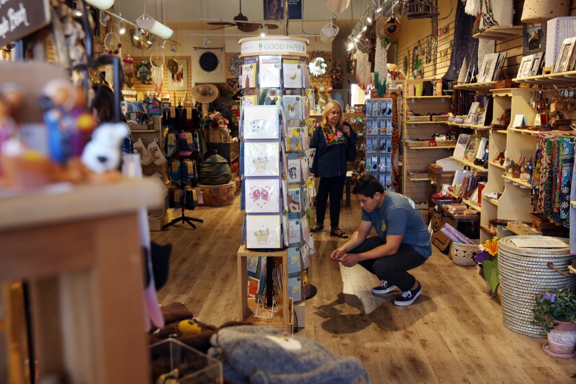 Shopping at Ten Thousand Villages, which showcases the work of disadvantaged artisans from around the globe.