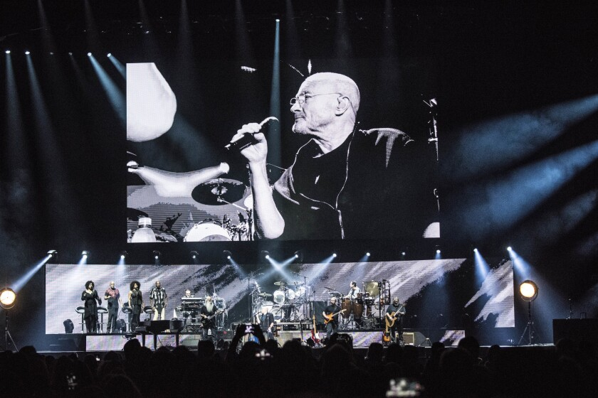 Phil Collins performs while seated on October 28, 2018 at the Forum in Inglewood, California. Collin