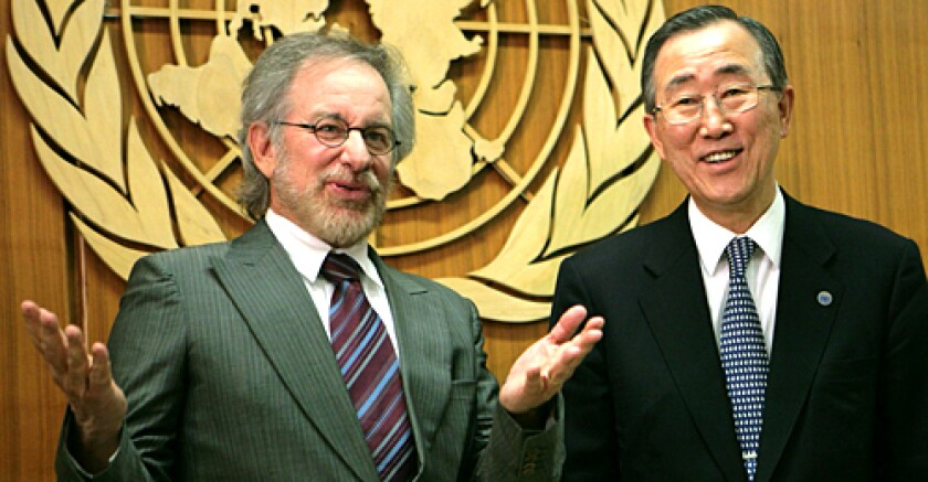 Steven Spielberg visits with United Nations Secretary-General Ban Ki-Moon at the United Nations Headquarters.