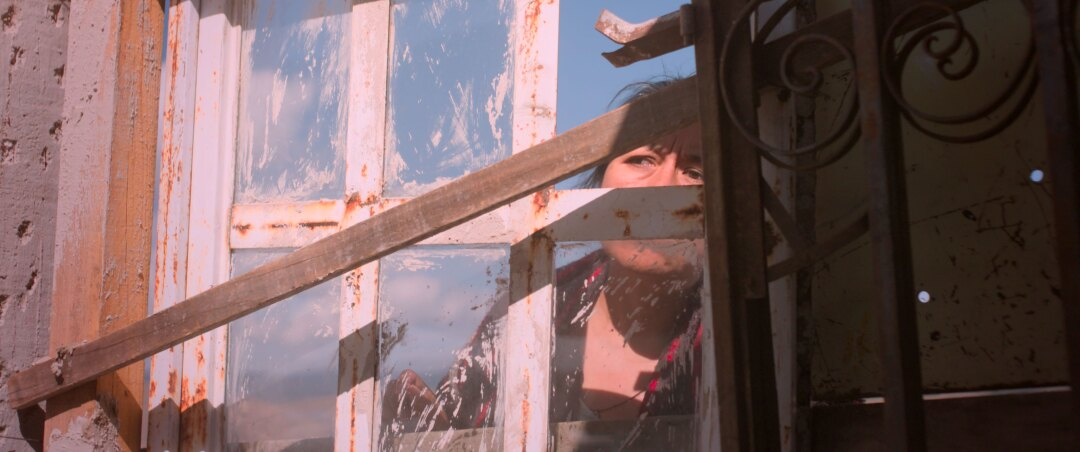"""Mercedes Hernandez peers through a window in a scene from """"Identifying Features."""""""