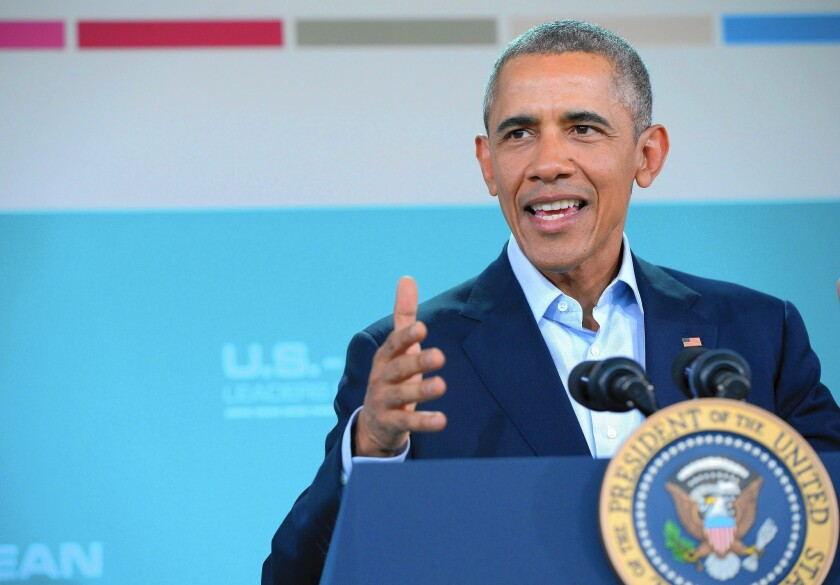"""""""The American people are pretty sensible,"""" Obama said at a summit in Rancho Mirage on Feb. 16, speaking about the presidential election. """"And I think they'll make a sensible choice in the end."""""""