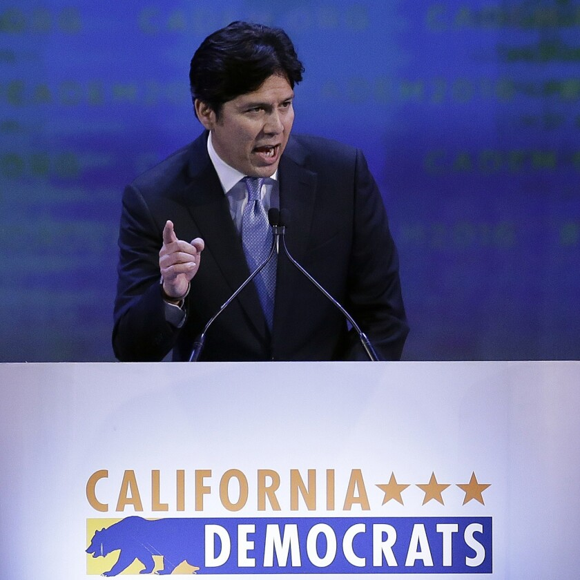 Senate President Pro Tem Kevin de León gestures while speaking before the California Democrats State Convention in San Jose on Feb. 27.