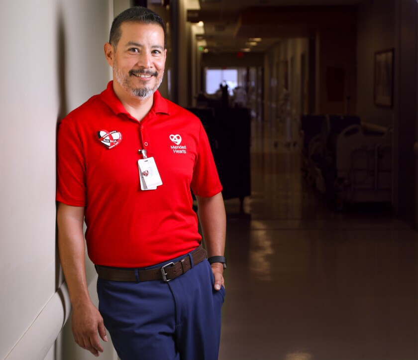 Alex Silva is a member of Mended Hearts of San Diego. He went through open-heart surgery at Sharp Memorial Hospital in Kearny Mesa in 2016, and through that and previous and subsequent events, the experience helped him reconcile with his Catholic faith. Now he visits the hospital every Thursday afternoon to meet with post-op patients and counsel and comfort them on the recovery process.